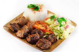 Картинка Мясные продукты Овощи Шашлык Рис Белый фон Еда
