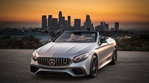 Обои Mercedes-Benz Серебристый Кабриолет S63 4MATIC 2018 AMG