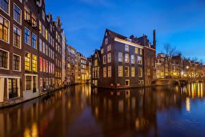 Картинка Нидерланды Амстердам Здания Вечер Водный канал