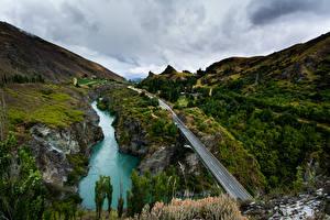 Картинка Новая Зеландия Речка Дороги Каньон Queenstown Природа