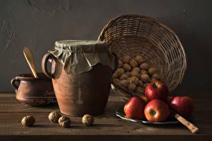 Фотография Орехи Яблоки Корзина Банка Пища