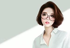Фотография Рисованные Шатенка Очков Милый Ayya SAP молодые женщины