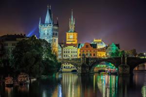Обои Прага Чехия Реки Мосты Ночь