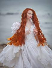 Обои Рыжая Невеста Платье Волосы