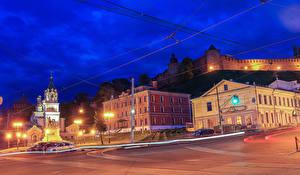 Фотография Россия Здания Храмы Памятники Улице Ночью Уличные фонари Nizhny Novgorod Города