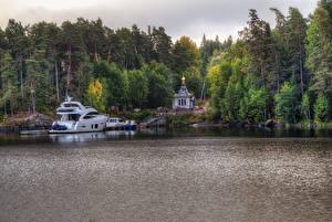 Обои Россия Озеро Пирсы Церковь Леса Яхта HDRI Ladoga Lake Valaam Island Природа