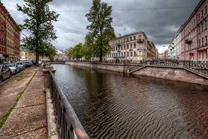 Фотографии Россия Санкт-Петербург Дома Водный канал Забор Kanal Griboyedova