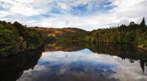 Картинка Шотландия Озеро Леса Холмы Lake Faskally Природа