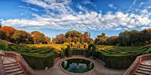 Фото Испания Парки Осенние Фонтаны Барселона Кусты Дизайн Природа