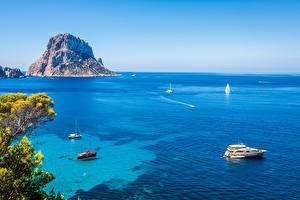 Фотографии Испания Море Корабли Утес Ibiza Природа
