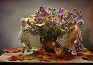 Картинки Натюрморт Астры Осенние Кукла Листья Цветы