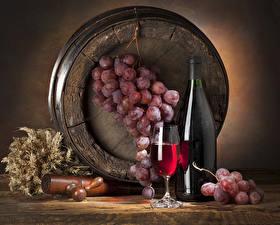 Фотография Натюрморт Бочка Вино Виноград Бутылка Бокалы Колос
