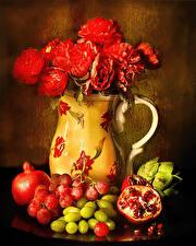 Обои Натюрморт Розы Гранат Виноград Ваза Красный Зерна Еда Цветы