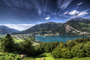 Фотографии Швейцария Горы Озеро Пейзаж Деревья Lake Walensee Природа
