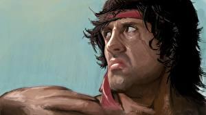 Фотография Сильвестр Сталлоне Рисованные Лицо Недовольство Rambo Кино