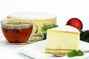 Фото Чай Пирожное Белым фоном Чашка Еда