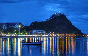 Фотография Таиланд Здания Вечер Уличные фонари