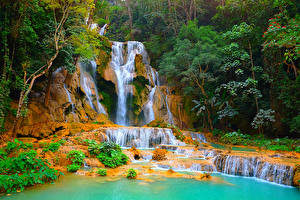 Фотографии Тропики Водопады Утес Kuang Si Waterfall Laos Природа