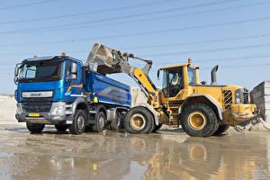 Фотографии Грузовики Volvo техника Авто DAF CF 480 8×4 FAD Meiller-Kipper, L90F Автомобили
