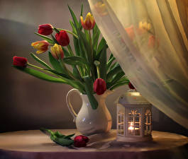 Картинка Тюльпаны Свечи Вазы цветок