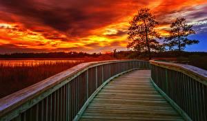 Картинки США Мосты Рассветы и закаты Небо Ограда Virginia