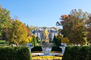 Фотографии Штаты Сады Фонтаны Скульптуры Осенние Деревья Кусты Nemours Mansion and Gardens