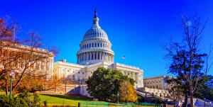 Обои Штаты Здания Осенние Вашингтон город National Capital Города