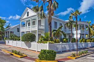 Фотография США Здания Флорида Особняк Дизайн Ограда Пальмы Key West