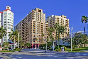 Обои США Дома Флорида Пальмы Palm Beach Города картинки