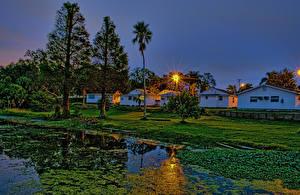 Фото Штаты Здания Пруд Вечер Флорида Деревья