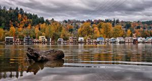 Обои Штаты Здания Речка Осенние Вода Portland Oregon Города