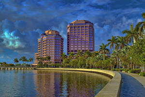 Обои Штаты Здания Небо Флорида Пальмы Залив West Palm Beach Города