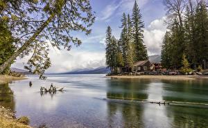 Картинки Штаты Парки Озеро Здания Ель Glacier National Park Природа