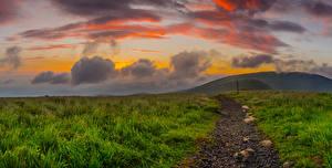 Фотография Штаты Рассветы и закаты Холмы Трава Облака Тропа North Carolina Природа