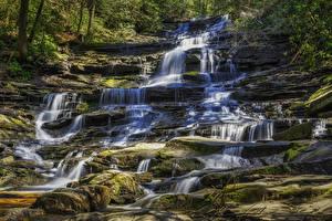 Фото США Водопады Камни Мох Minnehaha Falls Природа