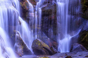 Обои США Водопады Камни Мох Tennessee Природа