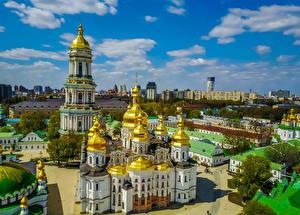 Картинки Украина Киев Храм Церковь Kyiv-Pechersk Lavra город