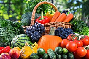 Обои Овощи Виноград Огурцы Томаты Тыква Арбузы Еда