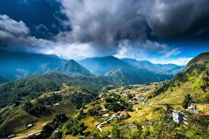 Фотографии Вьетнам Горы Поля Здания Природа
