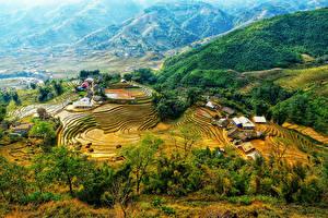 Фото Вьетнам Горы Поля Дома Сверху Природа