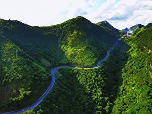 Обои Вьетнам Горы Дороги Мох Bac Can