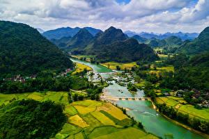 Фотография Вьетнам Пейзаж Гора Речка Поля Cao Bang Природа