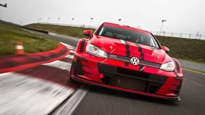 Обои Volkswagen Спереди Красная GTI 2018 Golf TCR Автомобили
