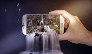 Фото Водопады Попугаи Креатив Смартфон Руки Природа