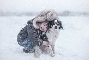 Фотография Зимние Собаки Мальчики Куртка Снег Дети Животные