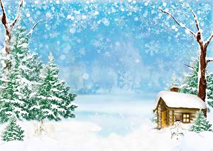 Обои Зимние Здания Снег Снежинки Ель Снеговики