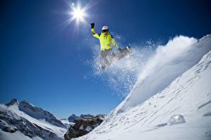 Фото Зимние Лыжный спорт Сноуборд Прыжок Снег Солнце Спорт