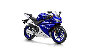 Фото Ямаха Белый фон Синий 2014-17 YZF-R125 Мотоциклы
