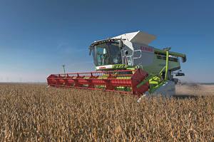 Обои Сельскохозяйственная техника Поля Зерноуборочный комбайн 2010-17 Claas Lexion 760