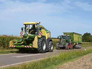 Картинки Сельскохозяйственная техника Дороги 2 Krone BiG X 580 Fendt